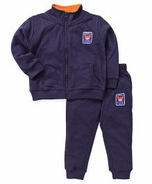 ToffyHouse Full Sleeves Winter Wear Jacket With Lounge Pant - Navy