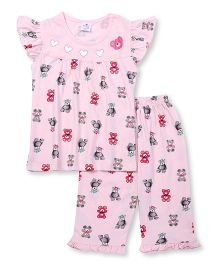Smarty Flutter Sleeves Night Suit Teddy Print - Pink