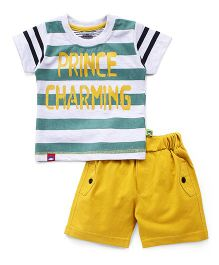 Mini Taurus Half Sleeves T-Shirt And Shorts Set Stripes Print - Green Yellow