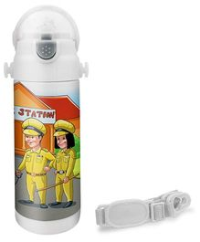 Hot Muggs Police Print Insulated Stainless Steel Sipper Water Bottle - 350 ml