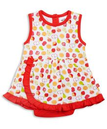 FS Mini Klub Sleeveless Fruits Print Frock Style Onesie - Red White