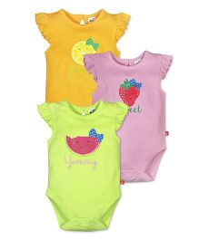 FS Mini Klub Flutter Sleeves Fruits Print Onesies Pack Of 3 - Yellow Pink Green