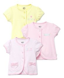 FS Mini Klub Short Sleeves Solid And Stripes Printed Vests Pack Of 3 - Yellow Pink