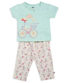 FS Mini Klub Short Sleeves Top And Pajama Bicycle Print - Light Green White