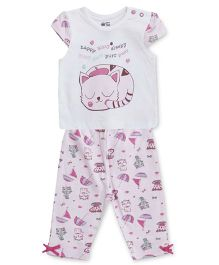 FS Mini Klub Short Sleeves Top And Pajama Kitty Print - White Pink