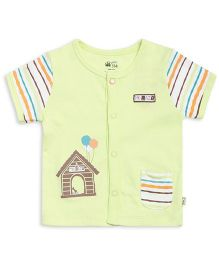 FS Mini Klub Half Sleeves Vest House Print - Light Green