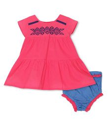 FS Mini Klub Short Sleeves Frock And Bloomer - Pink Blue
