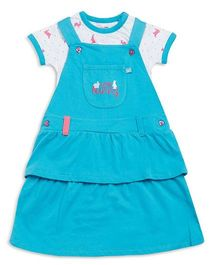 FS Mini Klub Sleeveless Frock With Inner Top Bunny Print - White Blue