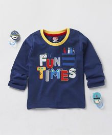 Babyhug Full Sleeves Tee Fun Times Print - Navy Blue