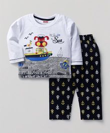 Babyhug Full Sleeves T-Shirt And Pant Set By The Sea Print - White & Navy Blue
