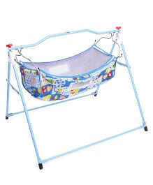 New Natraj Ghodiya Cradle With Mosquito Net Apple & Rabbit Print - Blue