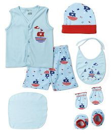 Ohms Clothing Set Sea Blue And Red - Pack Of 7