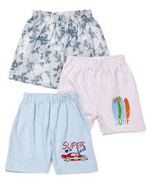 Ohms Shorts Floral & Car Print Pack Of 3 - Multicolor