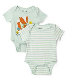 Ohms Half Sleeves Stripes And Friends Print Onesies Pack Of 2 - Green