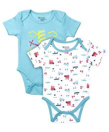 Ohms Half Sleeves Onesies Helicopter Print Pack Of 2 - Green & White
