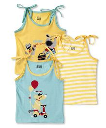 Ohms Singlet Jhabla Pack of 3 - Yellow Sky Blue