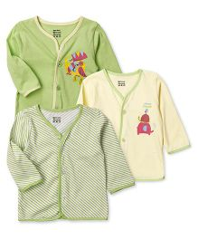 Ohms Full Sleeves Vests Pack of 3 - Light Yellow Green