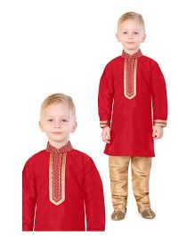 Ethnik's Neu Ron Full Sleeves Kurta And Pajama - Red Golden