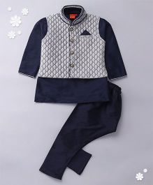 Ethnik's Neu Ron Kurta Jacket And Pajama Set - Navy Blue & Grey
