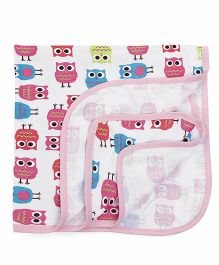 Ohms Baby Blanket Owl Print - White Pink