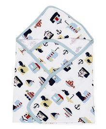 Ohms Hooded Towel Multiprint - White Sky Blue
