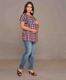 Mama & Bebe Half Sleeves Maternity T-Shirt Polka Dots Print - Purple