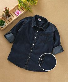Babyhug Full Sleeves Denim Shirt - Dark Blue