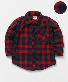 Babyhug Full Sleeves Checks Shirt - Red Navy