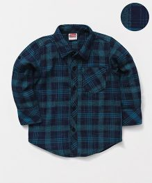 Babyhug Full Sleeves Checks Shirt - Green Navy