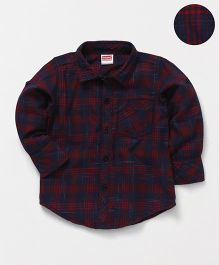 Babyhug Full Sleeves Checks Shirt - Maroon Navy