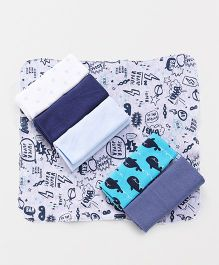 Ben Benny Wash Cloths Pack of 7 - White Navy Blue