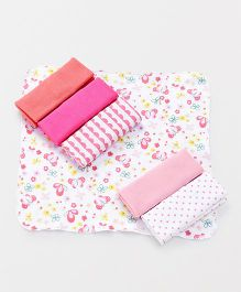Ben Benny Wash Cloths Pack of 7 - Pink White