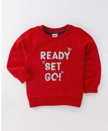 Babyhug Full Sleeves Sweatshirt Ready Set Go Print - Red