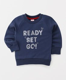 Babyhug Full Sleeves Sweatshirt Ready Set Go Print - Navy Blue