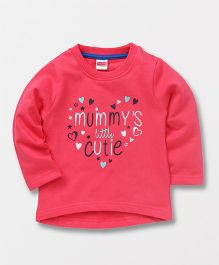 Babyhug Full Sleeves Sweatshirt Heart Print - Pink