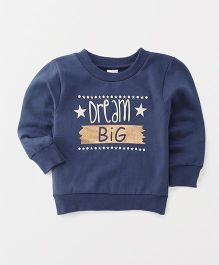 Babyhug Full Sleeves Sweatshirt Dream Big Design - Navy Blue