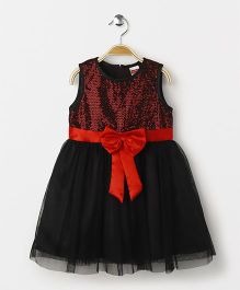 Babyhug Sleeveless Sequin Dress Bow Applique - Black
