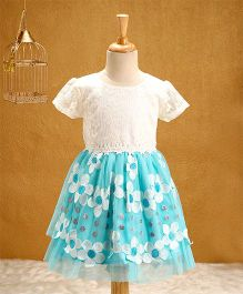 Babyhug Short Sleeves Party Wear Frock Flower Embroidery - Blue