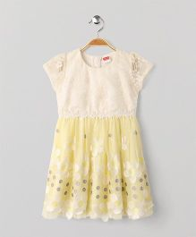 Babyhug Short Sleeves Party Wear Frock Flower Embroidery - Yellow