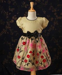 Babyhug Short Sleeves Party Frock Floral Embroidery - Golden