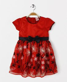 Babyhug Short Sleeves Party Frock Floral Embroidery - Red