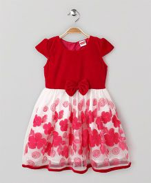 Babyhug Cap Sleeves Party Wear Dress Bow Applique - Dark Pink