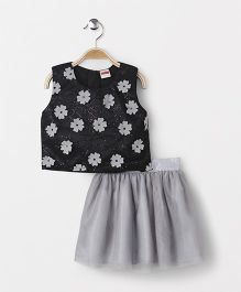 Babyhug Sleeveless Top With Skirt Floral Motif - Black Grey