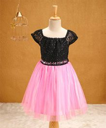 Babyhug Party Wear Dress With Sequin Work - Pink Black