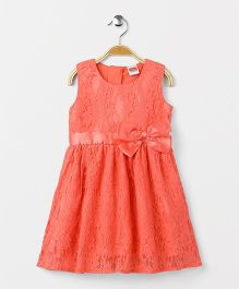 Babyhug Sleeveless Party Wear Frock Bow Applique - Peach