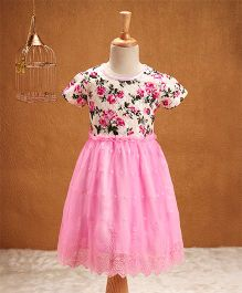 Babyhug Half Sleeves Party Frock Floral & Lace Design - Pink