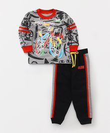 Babyhug Winter Wear T-Shirt And Track Pant - Grey