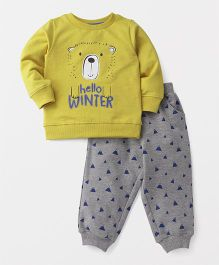 Babyhug Winter Wear T-Shirt And Lounge Pant Bear Print - Yellow & Grey