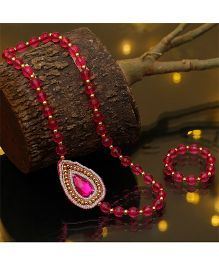D'chica Chic Beaded Ethnic Wear Jewellery - Fuschia