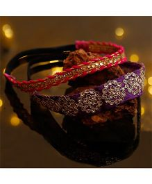 D'chica Set Of 2 Stylish Headbands For Ethnic Wear - Purple & Pink